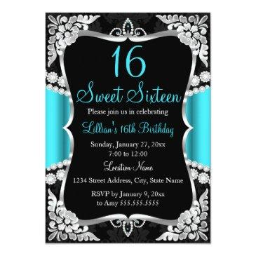 Small Teal Blue Silver Black Tiara Sweet 16 Invitation Front View