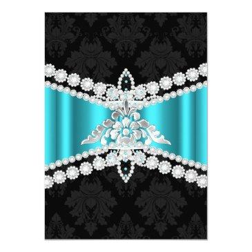 Small Teal Blue Silver Black Tiara Sweet 16 Invitation Back View