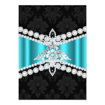 Small Teal Blue Silver Black Tiara Sweet 16 Invitation Back View