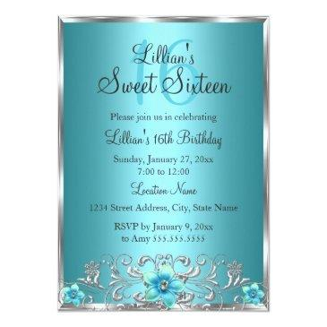 Small Teal Blue Silver Floral Swirl Sweet 16 Invitations Front View