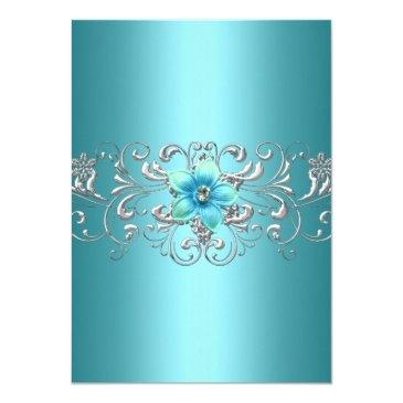 Small Teal Blue Silver Floral Swirl Sweet 16 Invitation Back View