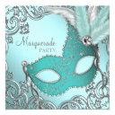 teal blue silver mask masquerade party invitation