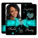 teal blue sweet 16 birthday party diamond photo invitation
