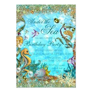 teal blue under the sea birthday party invitation