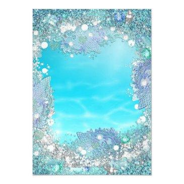 Small Teal Blue Water Ocean Pearls Sweet 16 Party Invitations Back View