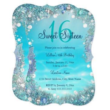 teal blue water ocean pearls sweet 16 party