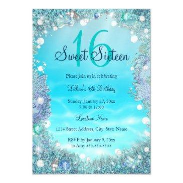 Small Teal Blue Water Ocean Pearls Sweet 16 Party Invitations Front View
