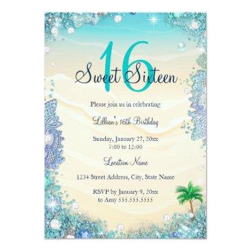 Small Teal Blue Water Ocean Sand Pearls Sweet 16 Party Invitations Front View