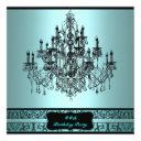 teal chandelier any number birthday party invitations
