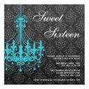 teal chandelier black damask sweet 16 birthday invitation
