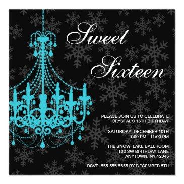 Small Teal Chandelier Black Snowflakes Sweet 16 Birthday Invitations Front View