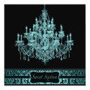 teal chandelier black sweet sixteen invitation