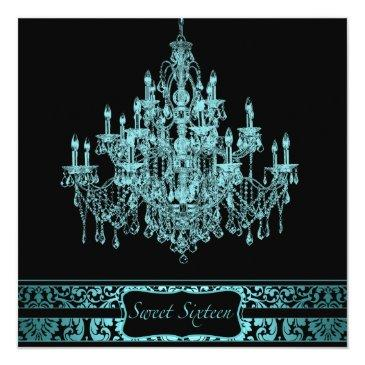 Small Teal Chandelier Black Sweet Sixteen Invitation Front View