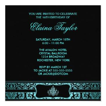 Small Teal Chandelier Black Sweet Sixteen Invitation Back View