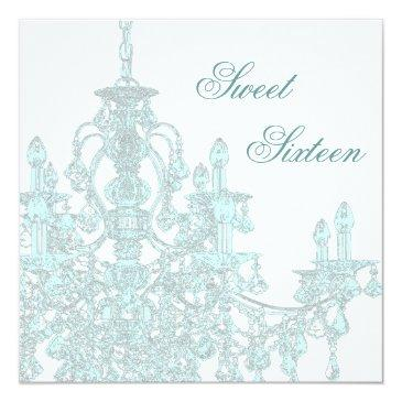 Small Teal Chandelier Sweet Sixteen Party Invitations Front View