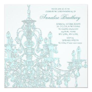 Small Teal Chandelier Sweet Sixteen Party Invitations Back View