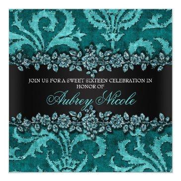 teal faux glitter & velvet floral sweet sixteen invitation