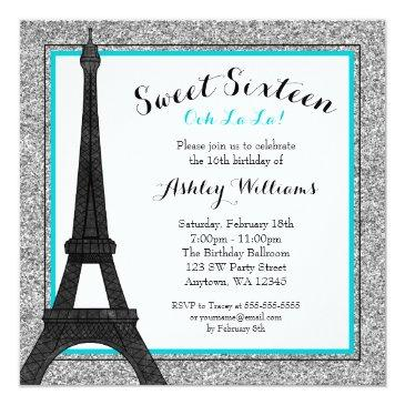 Small Teal Glam Paris Themed Faux Glitter Sweet 16 Invitations Front View