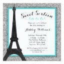 teal glam paris themed faux glitter sweet 16