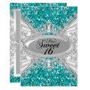 teal glitter diamond tiara sweet 16 invite