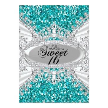 Small Teal Glitter Diamond Tiara Sweet 16 Invite Front View