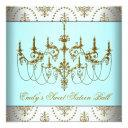 teal gold chandelier classy sweet sixteen ball invitations