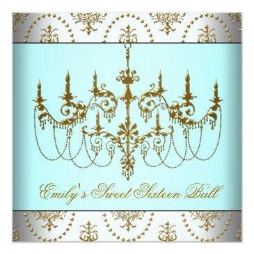 teal gold chandelier classy sweet sixteen ball invitation