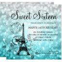 teal ombre sweet sixteen romantic paris glam invitation