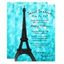 teal paris bokeh glitter lights sweet 16