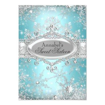 Small Teal Princess Winter Wonderland Sweet 16 Invite Front View