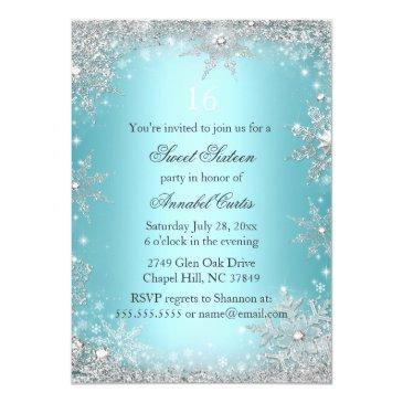Small Teal Princess Winter Wonderland Sweet 16 Invite Back View