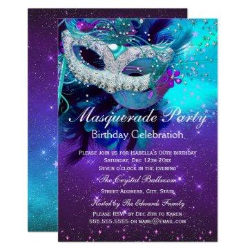 teal purple feather mask masquerade birthday invitations