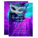 teal purple feather masked masquerade party invitations
