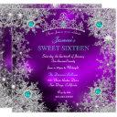 teal purple winter wonderland sweet 16 snowflake invitation