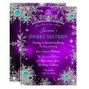 teal purple winter wonderland sweet 16 snowflakes invitation
