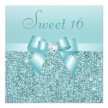 Small Teal Sequins, Bow & Diamond Sweet 16 Invitations Front View