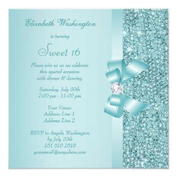 Small Teal Sequins, Bow & Diamond Sweet 16 Invitations Back View