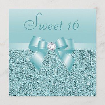 teal sequins, bow & diamond sweet 16 invitation
