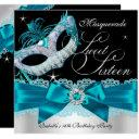 teal silver bow masquerade sweet sixteen invite