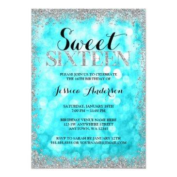 Small Teal Silver Faux Glitter Lights Sweet 16 Birthday Front View