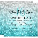 teal silver ombre sweet 16 birthday glitter lights invitation