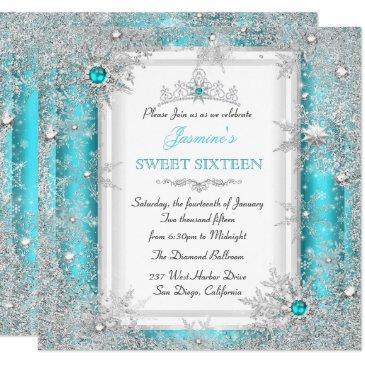 teal silver winter wonderland sweet 16 snowflake