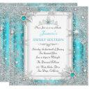 teal silver winter wonderland sweet 16 snowflake invitation