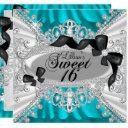 teal sparkle diamond bow sweet 16 invite