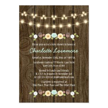 Small Teal String Of Lights Fall Rustic Boy Baby Shower Invitations Front View