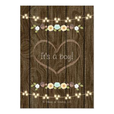 Small Teal String Of Lights Fall Rustic Boy Baby Shower Invitations Back View