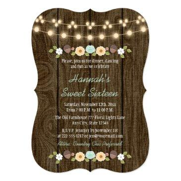 teal string of lights rustic sweet 16 invitation