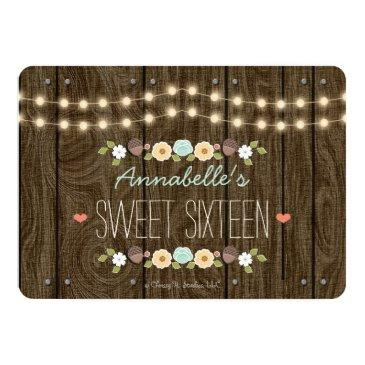 Small Teal String Of Lights Rustic Sweet Sixteen Invitations Back View