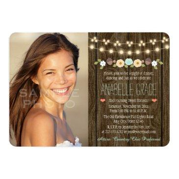 Small Teal String Of Lights Rustic Sweet Sixteen Invitations Front View