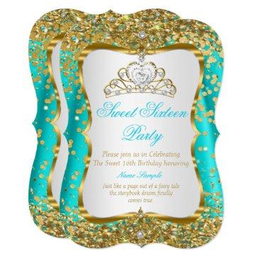 teal tiara princess sweet 16 gold white invite